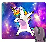 Knseva Dabbing Unicorn Funny Dab Dance Fairy Tale Rainbow Mouse Pad Custom, Space Nebula Galaxy Purple Blue Pink Mouse Pads