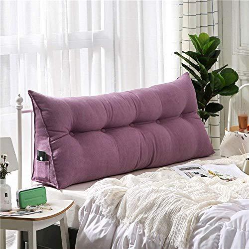 Cojín de cuña triangular tapizado, cojín de lectura para cama de oficina, cama, sofá, decoración, rosa, 50 x 200 cm