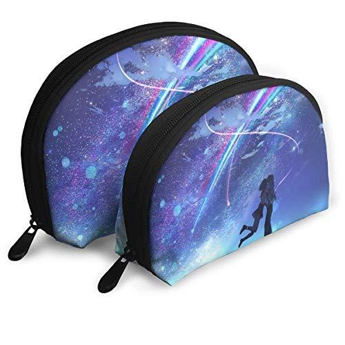 Bolsa de maquillaje con forma de concha portátil bolsa de embrague multifunción para mujer, bolsa de viaje impermeable con cremallera, 2 unidades