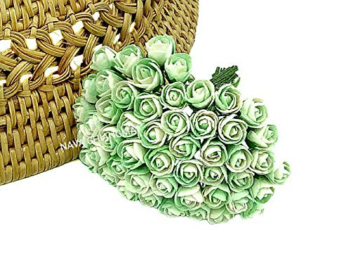 Nava Chiang Tiny Zwei Ton Farbe Rose Bud Mulberry Blume Papier, Hochzeit Blumen, Mulberry Blumen, Papier Rose Buds, Zubehör DIY, künstliche Craft Scrapbooking Blumen Two Tone Green