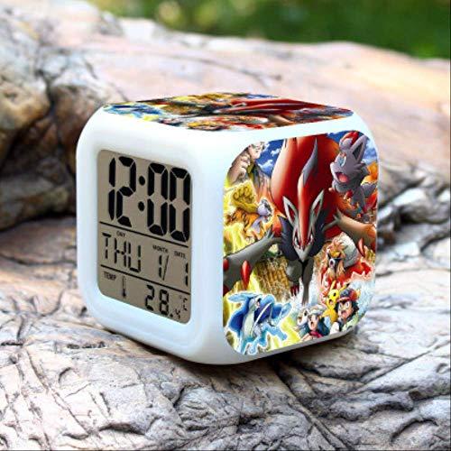 xianshiyanta Radio Reveil Matin Nouveau Pokemon 7 Couleurs Changement LED Réveil Numérique Veilleuse Coloré Horloge Changeante Rose