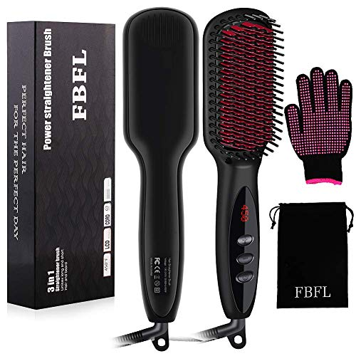 Enhanced Hair Straightener Brush by FBFL, 3-in-1 Ionic Hair Straightening Brush, Heated Hot Comb with Anti-Scald & Auto-Off Safe Function, Straightening Comb for Salon at Home