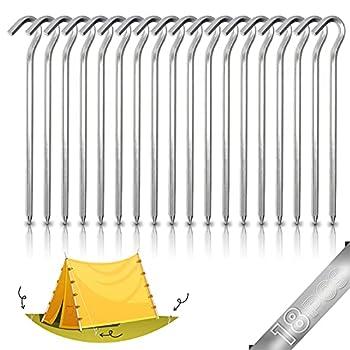 Piquets de Tente en Aluminium, 18 Pièces 18cm Clous de Tente Crochets de Tente Piquet Tente Sol Dur Piquets de Tente Camping Piquets De Tente Hexagonaux, pour Camping Tentes