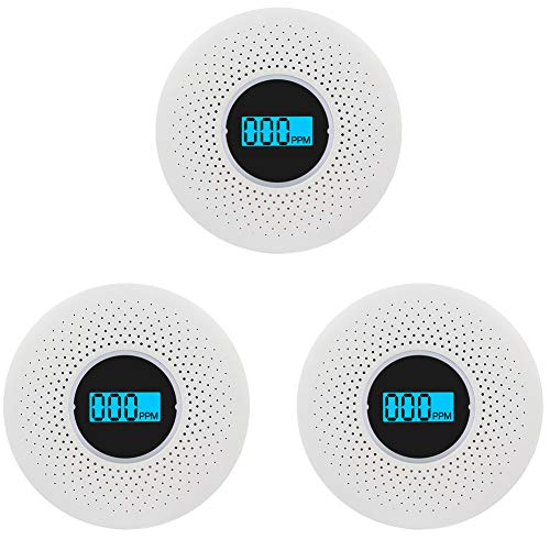Smoke and Carbon Monoxide Detector Combo - with Voice Warning and LCD Display CO Smoke Alarm Detector(Not Included AA Battery)- 3 Pack
