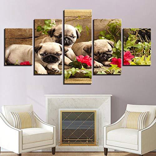 QMCVCDD Moderno Cuadro En Lienzo 5 Piezas Animal Perro Hoja Verde HD Poster Pictures Paintings Home Decor Impresión Artística Fotográfico Regalo -Sin Marco