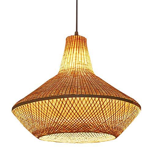 LYHY Lámpara Colgante de Linterna de Estilo Retro, Pantalla de bambú Natural, lámpara de ratán de Mimbre Hecha a Mano, para salón de té, Restaurante, cafetería, Dormitorio