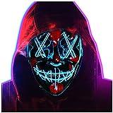 Halloween LED Máscaras,Purga Grimace Mask,LED Luminosa Terror Máscaras,LED Máscaras Carnaval con 3 Modos de Iluminación,para Navidad,Halloween,Cosplay,Grimace Festival,Fiesta Show (azul, 20cmX17cm)