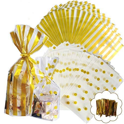 YANSHON Bolsas Regalos Cumpleaños Reutilizable 100pcs Bolsas Caramelos Bolsas Sobres de Comida Bolsas Dulce Bolsa de Confeti, Doradas con Lunares y Tiras Transparentes con Cierre Dorado