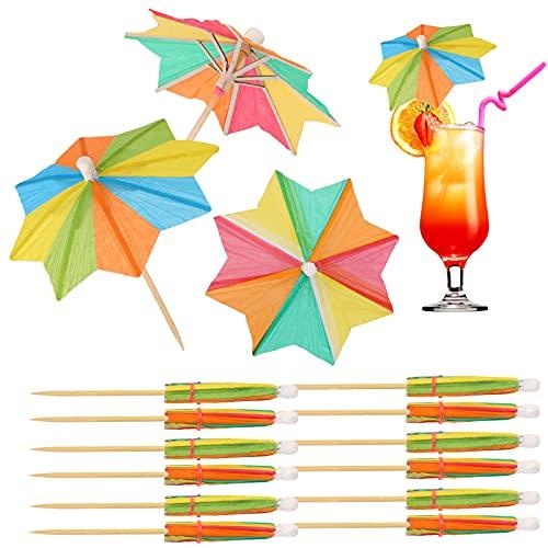 OOTSR Palillos de papel multicolor de 4 pulgadas con forma de estrella para sombrillas de 10 cm para suministros de fiesta, decoración de verano, 40 piezas