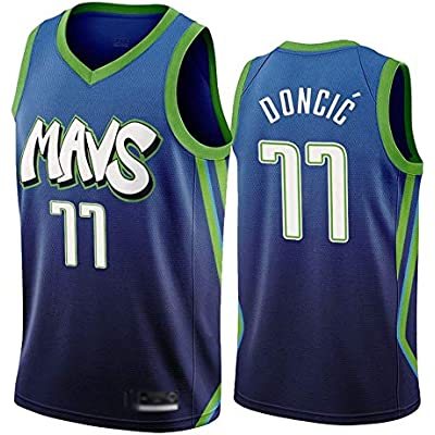 WOLFIRE WF Camiseta de Baloncesto para Hombre, NBA, Dallas Mavericks #77 Luka Doncic. Bordado, Transpirable y Resistente al Desgaste Camiseta para Fan (City Edition 2020, L)