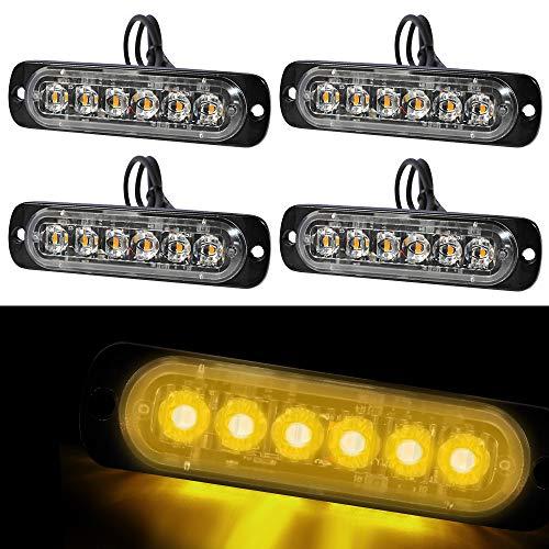 SEISSO 4 Stück 6pcs LED Warnleuchte, Frontblitzer Orange Blitzer ultradünnes Blitzlicht LED Blitzer für Auto Motorrad
