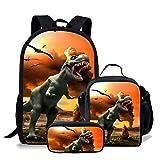 chaqlin Juego de 3 bolsas escolares para niños, mochila con bolsa de almuerzo, bolsa para lápices, animal, dinosaurio, lobo, fútbol, estampado para niños y niñas