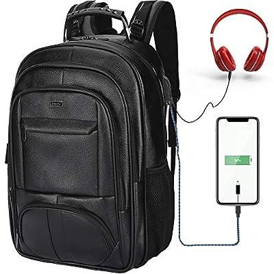 SAMAZ Laptop Backpack, Waterproof Leather, Travel Daypack School Bookbag