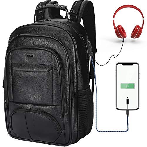 SAMAZ Laptop Backpack, Waterproof Leather, Travel Daypack School Bookbag, with USB Charging Port fit 11-16 inch Laptops (Black)