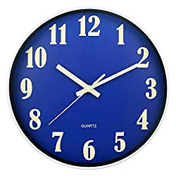 JoFomp Night Light Wall Clock, 12 Inch Silent Non-Ticking Wall Clocks, Large Luminous Function Numbers and Hands, Battery Operated Decorative Wall Clock for Office, Kitchen, Living Room (Blue)