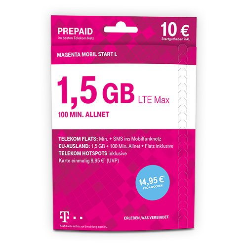 Telekom MagentaMobil Start L - Prepaid-Karte mit 100 Freiminuten in alle dt. Netze, 1,5GB Highspeed-Datenvolumen, LTE Max, HotSpot Flat, Flat zu persönlichen Zielrufnummer