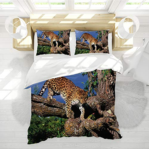 SHJIA Funda Nórdica Doble Azul, Funda Nórdica Animal con Estampado De Leopardo 3D, Funda Nórdica Animal De Poliéster Cama Doble 220 * 240cm