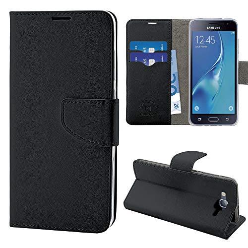 N NEWTOP Cover Compatibile per Samsung Galaxy J3 2015 e 2016, HQ Lateral Custodia Libro Flip Chiusura Magnetica Portafoglio Simil Pelle Stand (Nero)
