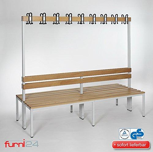 furni24 Umkleidebank Sitzbank Garderobenbank Sportraum Bank mit Rückenlehne (2-seitig) doppelseitig mit Garderobenhaken 200 cm x 170 cm x 85 cm