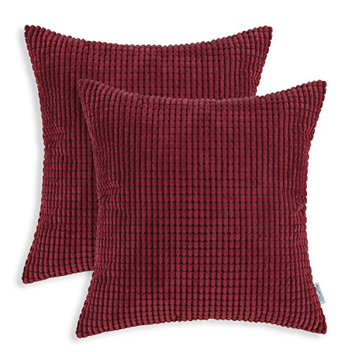 CaliTime Pack of 2 Comfy Throw Pillow Covers Cases for Couch Sofa Bed Decoration Comfortable Supersoft Corduroy Corn Striped Both Sides 22 X 22 Inches Burgundy