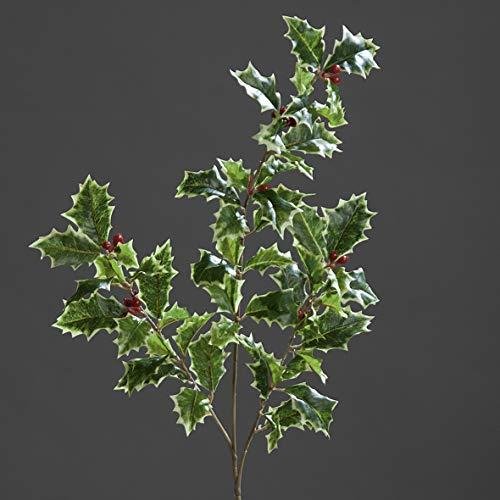 mucplants Ilexzweig Grün-Weiß mit roten Beeren Höhe 52cm Kunstzweig Künstlicher Ilex Kunstblumen