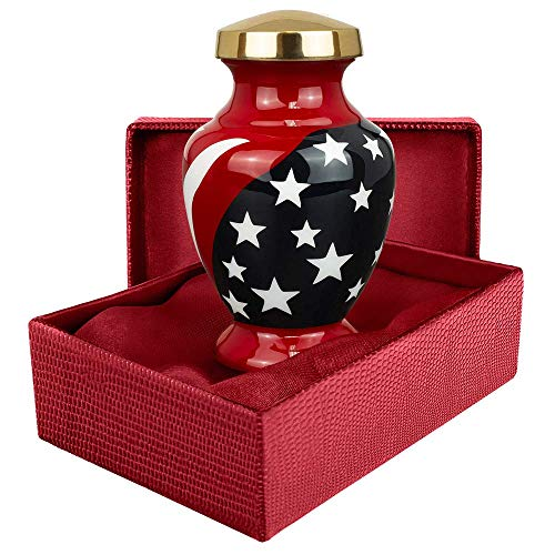 Trupoint Memorials Modern American Flag Red White and Blue Small Keepsake Urn for Human Ashes - Qnty 1