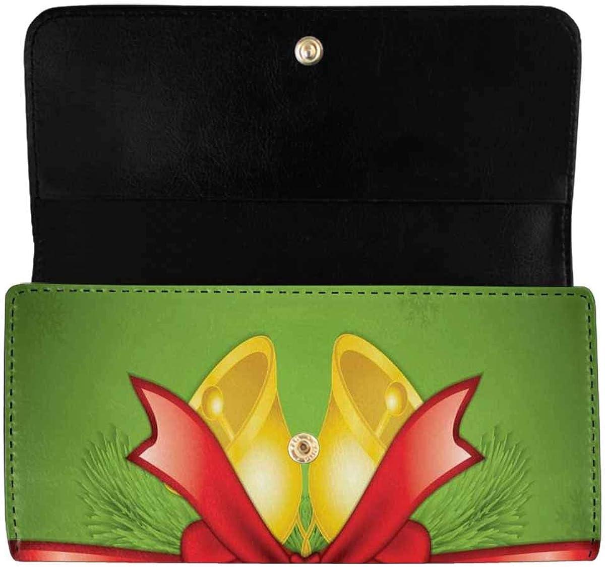 INTERESTPRINT Women's Long Clutch Purses Christmas Reindeer Trifold Card Holder Wallet