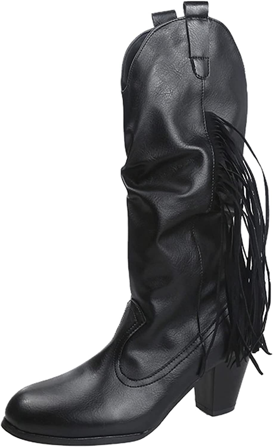 USYFAKGH Women's Mid-Up Boots Solid Color Square Heel Zipper Casual Boots