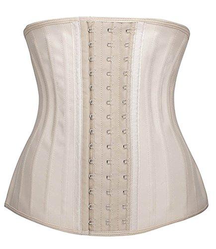 Shaperx Damen-Korsett aus Latex, Taillentrainer mit Stahlfedern, Gewichtsverlust, Miedergürtel, Sport, Körperformer, Bauchkontrolle  Gr. 36-38, Beige, 25 Stahlknochen