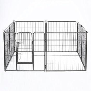dibea FG00541, Parc/Enclos pour Chiens Chiots et Animaux de Compagnie (8 pcs, 80 cm Haut), avec 1 Porte