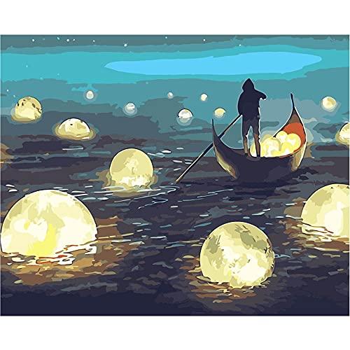 Saclieky 5D Diamond Pintura Barco del Lago de Dibujos Animados Punto de Cruz Diamante Pack,Punto de Cruz Diamante Navidad,5D DIY Pintura Diamante Taladro Completo Kit