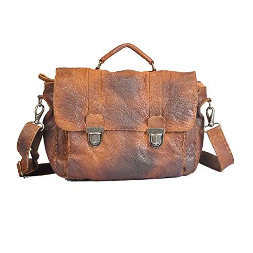 Vilenca Holland 40701 Cognac Laptoptasche Umhängetasche Schultertasche aus echtem Leder - Unisex- Vintage
