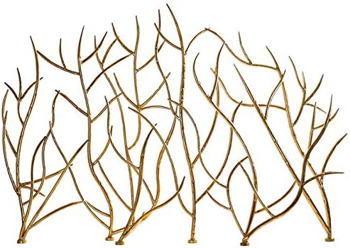 """wholesale Uttermost 18796 Gold Branches - 48.43"""" Decorative Fireplace Screen, 2021 Hammered Iron/Bright Gold 2021 Leaf Finish outlet sale"""