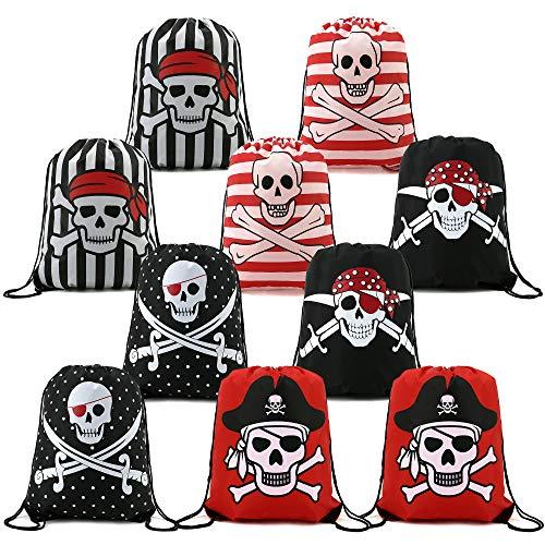 BeeGreen Piraten Kindergeburtstag Gastgeschenke Mitgebsel Tüten 10 Stück, Piratenparty Schatzsuche Turnbeutel für Jungen Mädchen, Piraten Geburtstag Party Mitgebsel Geschenktüten für Kinder
