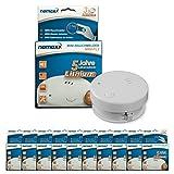 10x Detector de Humo Nemaxx Mini-FL2 Mini Detector de Fuego y Humo Detector con batería de Litio de Acuerdo con la Norma DIN EN 14604