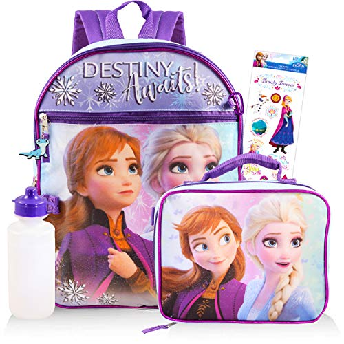 Disney Frozen Backpack Set for Girls ~ 5 Pc Deluxe 16' Frozen Backpack with Lunch Bag, Stickers, and More (Frozen School Supplies)