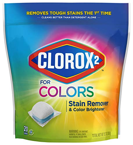 Clorox 2 for Colors Stain Remover and Color Brightener Packs, 20 Count ( Pack Of 6 ) (Package May Vary)
