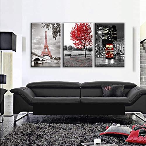 XLST Impresiones HD Pinturas Mural Marco de Referencia 3 Piezas París Torre Eiffel Imágenes Lona Decoración del hogar Autobús Rojo del Coche Arce Rojo Póster,B,50X70X3
