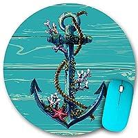 PATINISA ラウンドマウスパッド、木の線に触発された船のアンカーチェーン海洋生物背景オーシャンセーリング、PC ノートパソコン オフィス用 円形 デスクマット、ズされたゲーミングマウスパッド 滑り止め 耐久性が 200mmx200mm