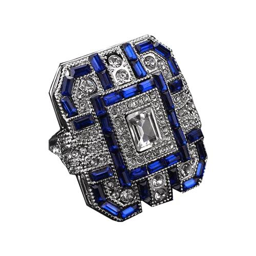 SolaXii Anillo de compromiso de lujo con diamantes de imitación incrustados, joyería azul con personalidad, diamante cuadrado brillante, anillo de compromiso, plata, B