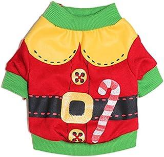 DroolingDog Dog Christmas Shirt Pet Xmas Clothes Dog Santa Claus Costume T Shirts for Small Dogs, Large, Red