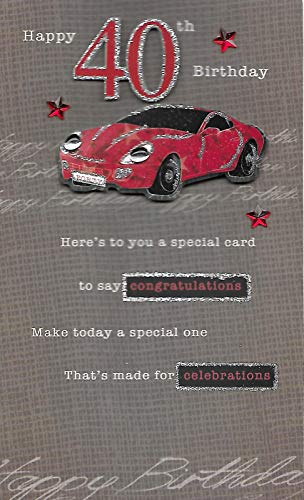 Men's 40th Birthday Sports Car and Glitter Card