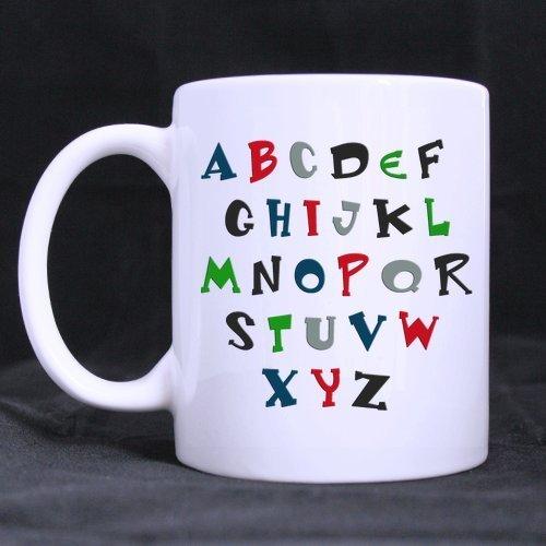Regalos de Año NuevoDía de Navidad Refranes divertidos ABCDEFGHIJKLMNOPQRSTUVWXYZ Taza de té o café 100% Cerámica Taza blanca de 11 onzas
