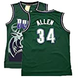 KANESAT Men\s Ray Jersey Milwaukee 34 Jersey Allen Basketball Jerseys Green(S-XXL) (XXL)