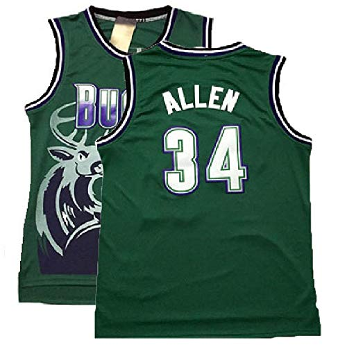 KANESAT Men's Ray Jersey Milwaukee 34 Jersey Allen Basketball Jerseys Green(S-XXL) (XXL)