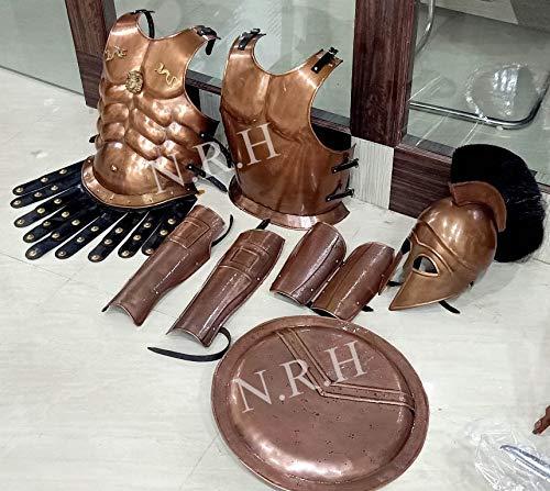 Nautical Replica Hub Medievale Muscolo Giacca Rame Greco Casco Braccio & Gamba Guardia & Scudo Armatura LARP Costume
