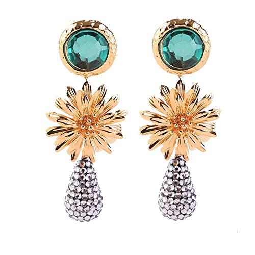 QIN Vintage gotitas de Oro Rhinestone Pendientes Grandes de Goteo de Las Mujeres Moda de Moda Pendientes de Cristal Verde Largo Accesorios de Lujo