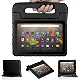 Foluu - Funda protectora para Kindle Fire HD 10/10 Plus (11 th generación), con asa y soporte para tablet Amazon Fire HD 10 2021 (Fire HD10 2021, color negro