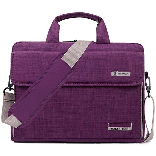 BRINCH Laptop Bag Oxford Fabric Portable Notebook Messenger Bag Shoulder Briefcase Handbag Travel Carrying Sleeve Case w/Shoulder and Luggage Strap for Men Women Compatible 17-17.3 Inch Laptop,Purple