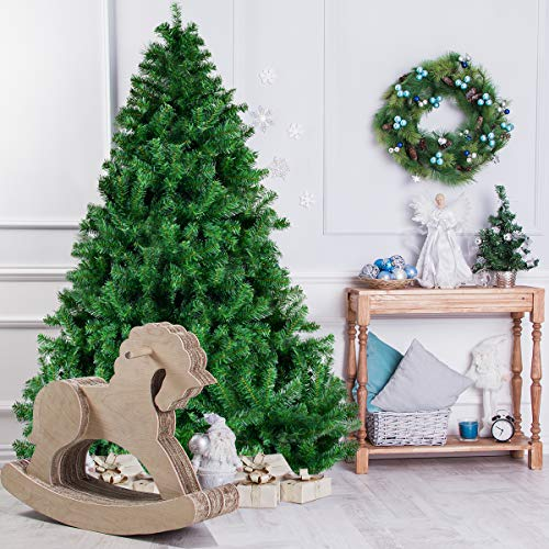 Goplus Christmas Tree Unlit Artificial Premium Hinged Spruce Full Tree with Solid Metal Stand, 1000 Tips (6 feet, Classic Series)